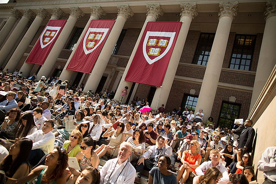 Harvard University celebrates Commencement 2016. The Morning Exercises take place in Tercentenary Theatre. Guests are pictured on the steps of Widener Library during the ceremony. Stephanie Mitchell/Harvard Staff Photographer