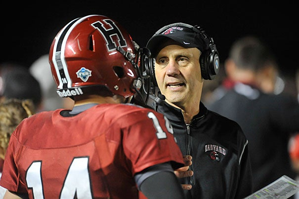 Harvard football coach Tim Murphy (right). Jon Chase/Harvard Staff Photographer