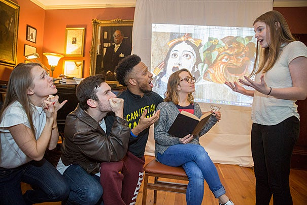 "Nastassia Maltsava '16 (from left), Brian Lore Evans '17, Rick Davis Jr. '17, Olivia Munk, and Elizabeth O'Donnell '17 rehearse for ""The Harvard Cabaret: Stress,"" a Harvard A.R.T. Institute/undergraduate cabaret, inside Signet House. Kris Snibbe/Harvard Staff Photographer"