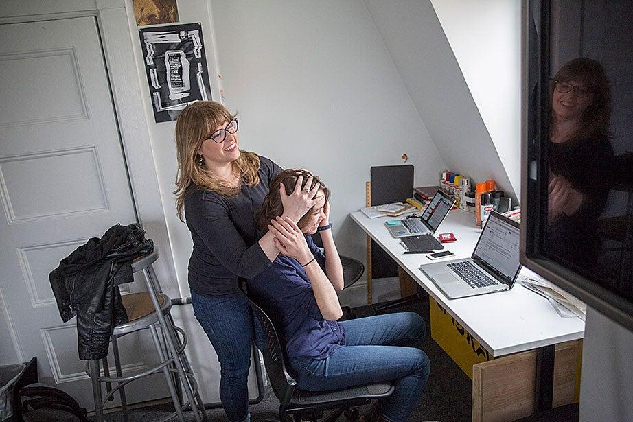 Marshall Lambert and Krystelle Denis discuss their work inside the metaLAB office/studios.