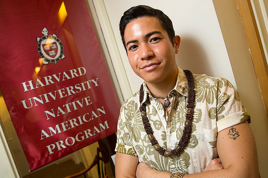 """One of my most special memories as a Native student is the celebration of Indigenous Peoples' Day,"" says Ikaika Ramones '16 (Native Hawaiian). ""When Harvard celebrates Columbus Day, we celebrate the survival and resistance of our ancestors. As an ultra-minority on campus with little known about us, it meant a lot to hear our songs and poetry echo in Harvard Yard, see our dances where the Indian College once stood, and have a part of where we come from breathe and come to life. Seeing members of the Harvard community join hands in a final dance of commemoration was one of the most unexpected and powerful moments in my time here."""