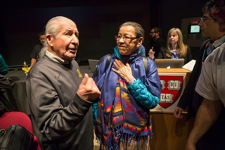 Oren Lyons (Onondaga), left, speaks with First Nations elder Doreen Spence at the Native American running conference. A lifelong lacrosse player, Lyons played professionally and has been a supporter of the Iroquois Nationals team, which has won the silver medal (placing ahead of the United States) in each of the last four World Indoor Lacrosse Championships. Doreen Spence is of Cree ancestry (Northern Alberta), and has represented her people in forums for human rights, women's issues, and aboriginal health. She was nominated for a Nobel Peace Prize for the 1000 Women project (2005).