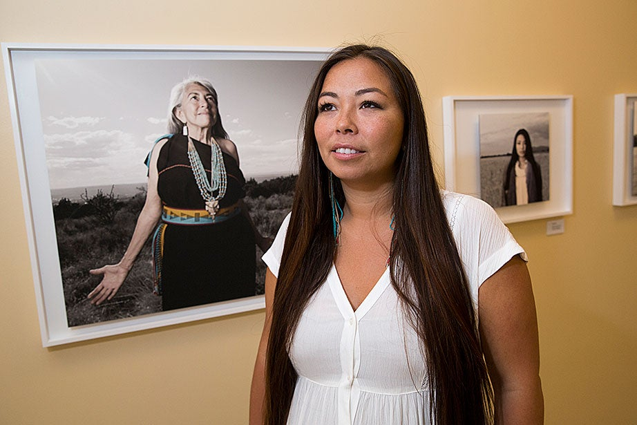 "The exhibit ""Seeds of Culture: The Portraits and Stories of Native American Women"" is on display in Byerly Hall at Radcliffe. It features prints from Project 562 by Matika Wilbur, a photographer from the Tulalip and Swinomish tribes in Washington state. Over the past three years, Wilbur has photographed about half of the 567 officially designated tribes in the United States (up from the previous number, 562), and plans to keep working until she has documented them all."