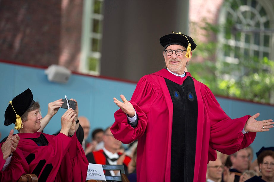 Honorary degree recipient Steven Spielberg is photographed by Mary L. Bonauto, who received an honorary Doctor of Laws degree. Kris Snibbe/Harvard Staff Photographer