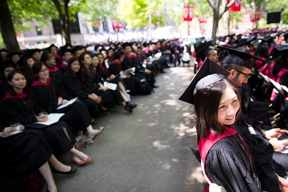 Graduates are pictured during the Morning Exercises. Stephanie Mitchell/Harvard Staff Photographer