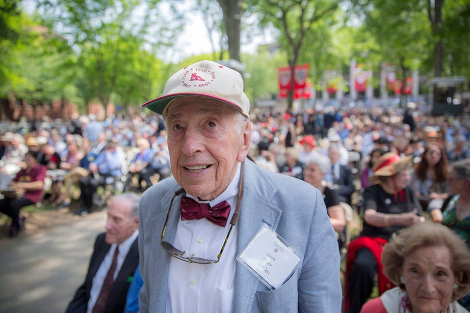 Leon Starr '40, 97 years old, is the oldest male graduate attending the Annual Meeting of the Harvard Alumni Association (HAA) in the Tercentenary Theatre. Kris Snibbe/Harvard Staff Photographer