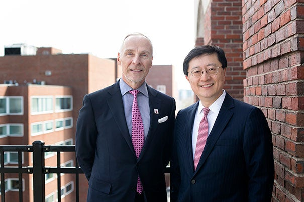 "Martin J. ""Marty"" Grasso Jr. '78 (left) is the incoming president of the Harvard Alumni Association, taking over the role held by Paul L. Choi '86, J.D. '89."