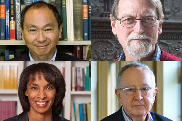 Harvard's Graduate School of Arts and Sciences has awarded four of its alumni the Centennial Medal, one of its highest honors. Recipients are Francis Fukuyama (clockwise from upper left), David Mumford, John O'Malley, and Cecilia Rouse.