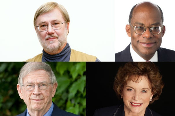 President Drew Faust will present the 2016 Harvard Medal to Thomas G. Everett (clockwise from top left), Roger W. Ferguson Jr. '73, A.M. '78, J.D. '79, Ph.D. '81, Betsey Bradley Urschel, Ed.M. '63, and John H. McArthur, M.B.A. '59, D.B.A. '63.