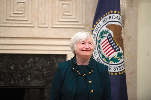 """""""As chair of the Federal Reserve, Janet Yellen steers our economy with steadfast commitment to robust growth broadly shared,"""" said Radcliffe Institute Dean Lizabeth Cohen about Yellen (above)."""