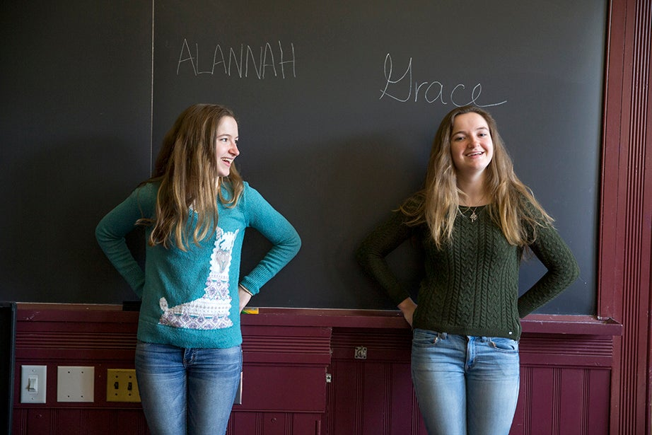 """For concentrations, both O'Brien girls are undecided, but Grace is leaning toward government. """"We participate in different extracurricular activities, hang out with different people, and we don't plan on choosing the same concentration,"""" Grace says. """"This allows us to lead separate lives, while staying close."""" Rose Lincoln/Harvard Staff Photographer"""
