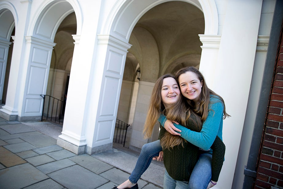 Alannah O'Brien will live at Lowell House next year, while Grace chose Quincy House. Rose Lincoln/Harvard Staff Photographer