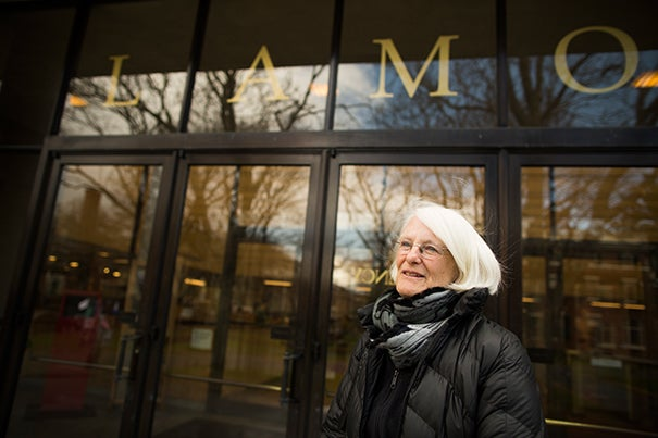 """Women were not allowed inside of Lamont,"" said Frinde Maher, Radcliffe '64, standing in front of the library that had excluded women."