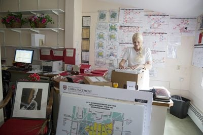 Grace Scheibner packs up her office in Wadsworth House after completing her 24th and last Commencement as director.