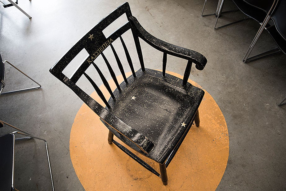 A chair bears the Greek name of the constellation Cassiopeia. The chair has been in the lab for as long as staff members can remember.