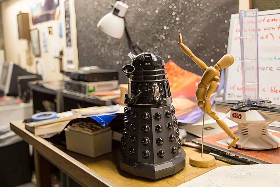 "A dalek robot, a wooden artist's mannequin, and a ""Star Wars"" toy are at home in the Loomis-Michael Observatory."