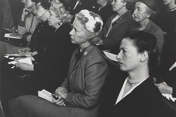 As part of their service to the churches, Harvard Divinity School faculty addressed laywomen on Thursday mornings, followed by tea at Jewett House. From right: Brita Stendahl, Elinor Lamont, and Anne Pusey, wife of Harvard President Nathan M. Pusey '28. In 1973, Brita Stendahl, wife of then-Dean Krister Stendahl and a biblical scholar in her own right, reformulated the Ladies Lectures as Theological Opportunities for Women. The group incorporated lecturers from the new WSRP Research Associates and combined theological exploration with feminist consciousness-raising. Ecofeminist theologian Elizabeth Dobson Gray directed the program from 1978 until 2010. Photo courtesy of Andover-Harvard Theological Library
