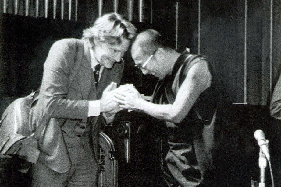 In 1979, the 14th Dalai Lama made his first trip to the United States. His final stop, at the invitation of the Center for the Study of World Religions (CSWR), was Harvard, where he gave a lecture in Sanders Theatre and taught a seminar to HDS students in Andover Chapel. He returned in 1981, 1995, 2003, and 2009. Here, he is pictured with Robert Thurman '62, A.M. '69, Ph.D. '72, an affiliate of the CSWR in 1978–79. Photo courtesy of CSWR