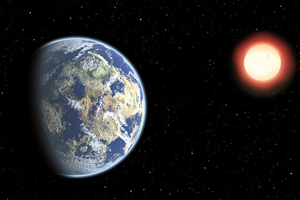 "This artist's conception shows a red dwarf star orbited by a pair of habitable planets. Because red dwarf stars live so long, the probability of cosmic life grows over time. As a result, Earthly life might be considered ""premature."""