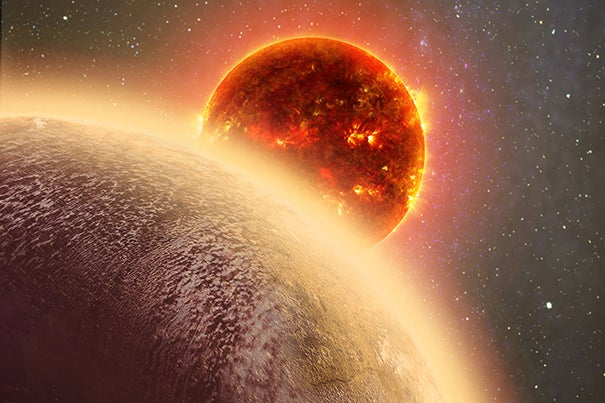 This artist's conception shows the rocky exoplanet GJ 1132b, located 39 light-years from Earth. New research shows that it might possess a thin oxygen atmosphere — but no life due to its extreme heat.