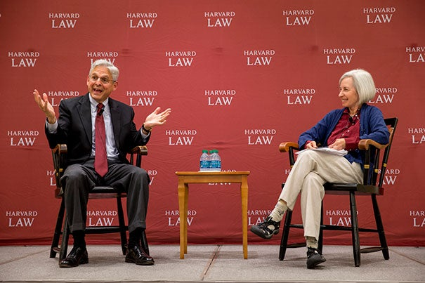 In a conversation with Harvard Law School Dean Martha Minow (right), U.S. Supreme Court nominee Merrick Garland (left) addresses the incoming class at Harvard Law School.