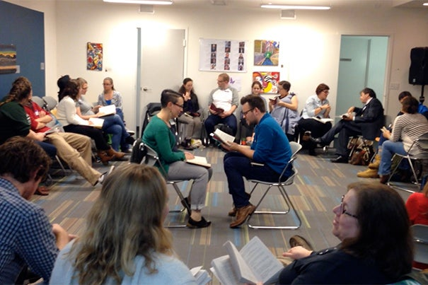 Readers discuss the themes of the assigned chapters in breakout groups. In the center, Emily Colgan, the podcast's social media coordinator, talks with Casper ter Kuile. Photo by Nick Bohl
