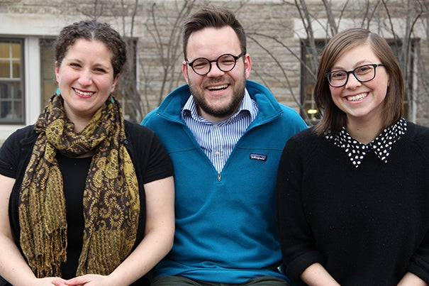 The three founders of the podcast, from left, Vanessa Zoltan, Casper ter Kuile, and Ariana Nedelman. Photo by Robert Majovski