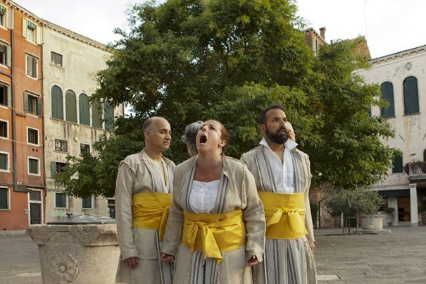 "Five actors of New York-based Compagnia de' Colombari perform a scene from ""The Merchant of Venice"" on the main square of Venice's historic Jewish ghetto."