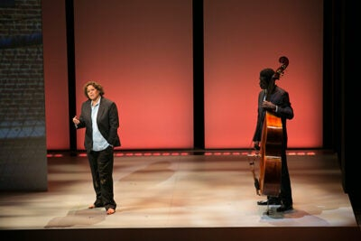 "Anna Deavere Smith and Marcus Shelby in ""Notes from the Field: Doing Time in Education."""