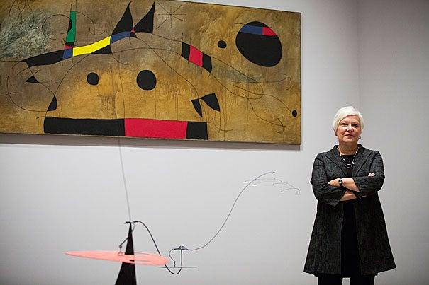 Martha Tedeschi with Joan Miró's Mural, March 20, 1961 (1961). © Successió Miró/Artists Rights Society (ARS), New York/ADAGP, Paris. Stephanie Mitchell/Harvard Staff Photographer
