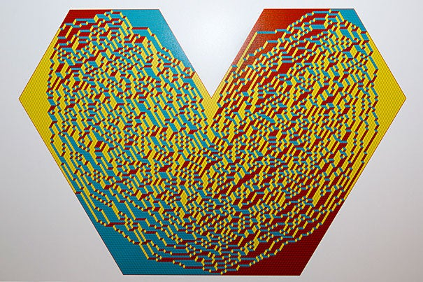 """""""Random Heart"""" is a computer-simulated image that is part of """"The Art of Discovery,"""" an interdisciplinary art show at the Radcliffe's Johnson-Kulukundis Family Gallery. The work is by Radcliffe Fellow and mathematician Alexei Borodin and Leonid Petrov."""