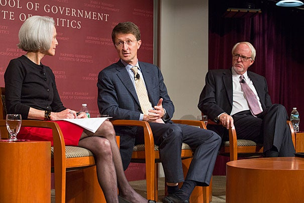 Jill Dougherty (from left), Maxim Boycko, and John Beyrle discuss challenges the next U.S. president will face with Russia during the Future of Diplomacy project co-sponsored by the Harvard Institute of Politics.