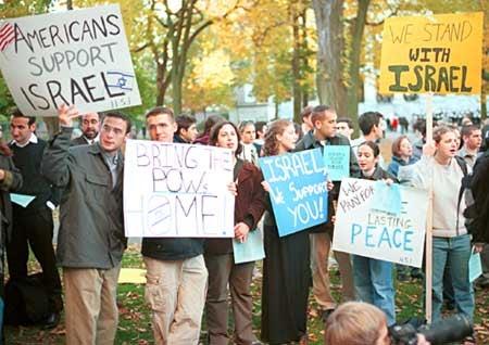 Demonstrators at Tercentenary Theatre