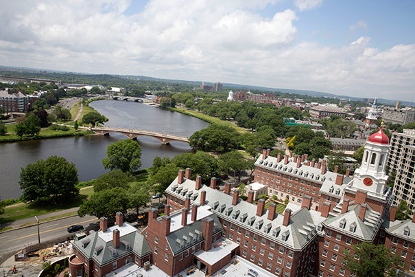 Views of Dunster House renovations and the River Houses at Harvard University. The vantage point is from Mather House tower. Kris Snibbe/Harvard Staff Photographer