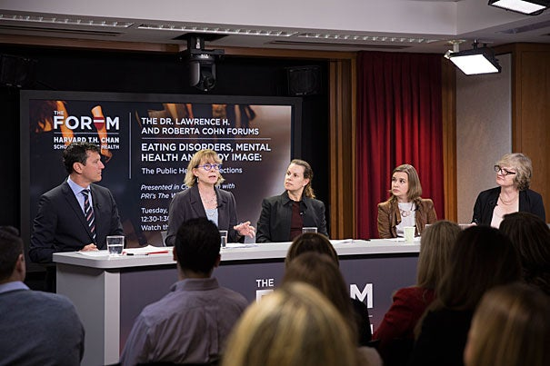 """Thomas Weigel (left), S. Bryn Austin, Alison Field,  Claire Mysko, and moderator Carol Hills engage in a panel discussion during """"Eating Disorders, Mental Health, and Body Image,"""" hosted by Harvard Chan School."""