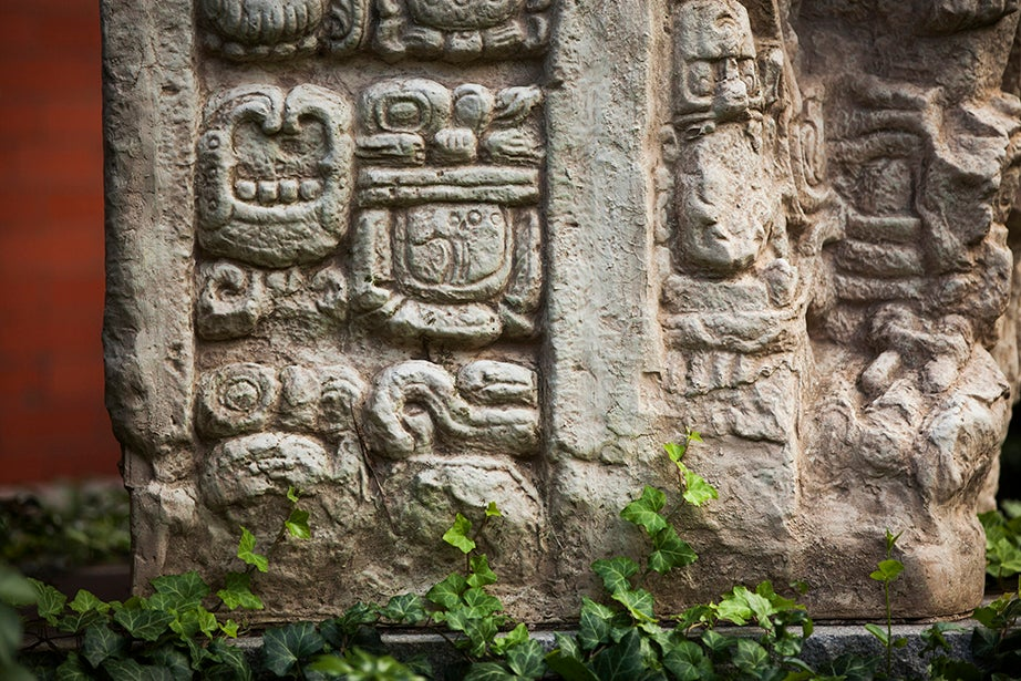 The Peabody Museum has a replica of a classic Maya stele from the ruins of Copan.