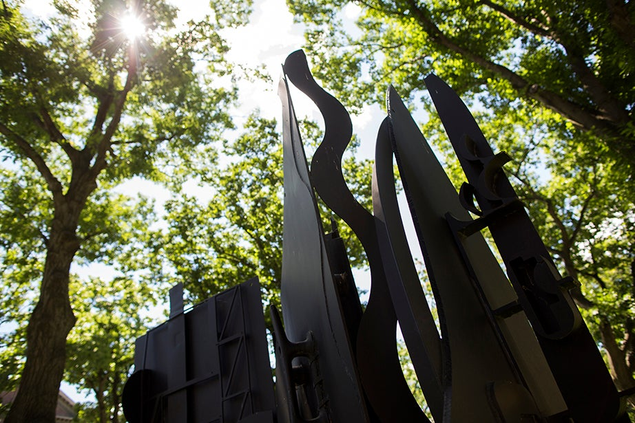Night Wall I by Louise Nevelson is at Hauser Hall at Harvard Law School.