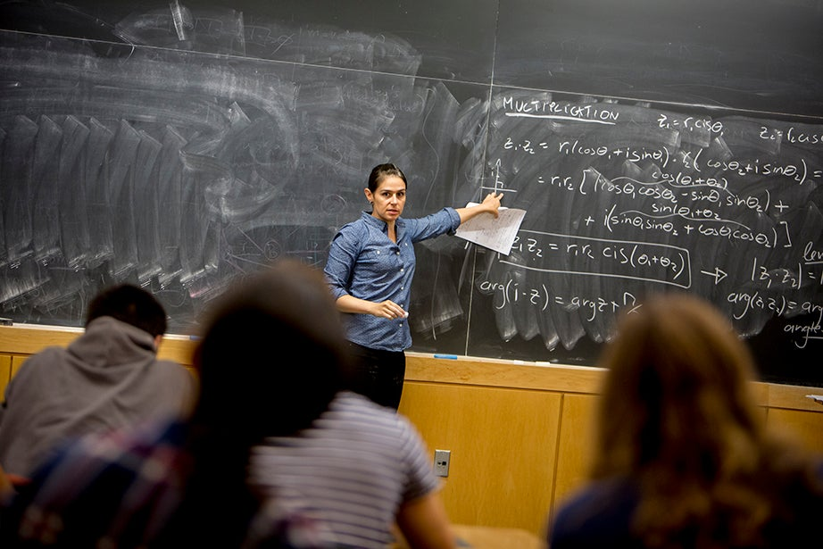 """Yasmine Meroz teaches """"Series Expansions and Complex Analysis,"""" a class that introduces fundamental concepts for solving real-world problems and emphasizes their applications through examples from the physical and social sciences. Rose Lincoln/Harvard Staff Photographer"""