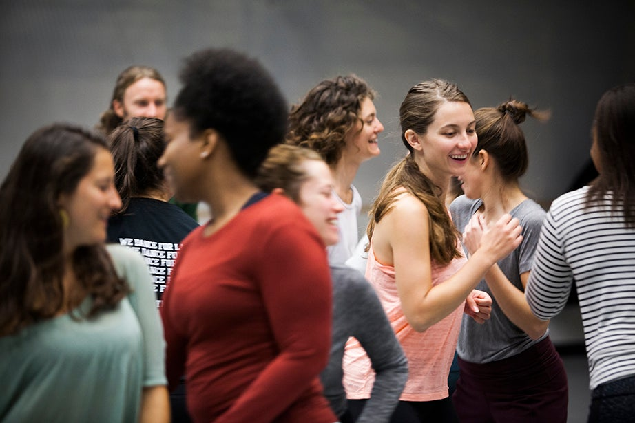 """Students including Sophie Carroll '17 (right) participate in Joy Davis' class """"Contemporary Dance: Countertechnique."""" Stephanie Mitchell/Harvard Staff Photographer"""