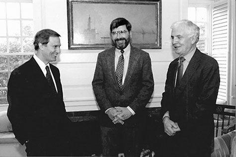 Photo of Neil Rudenstine, Eugene Shklar, and Roman Szporluk