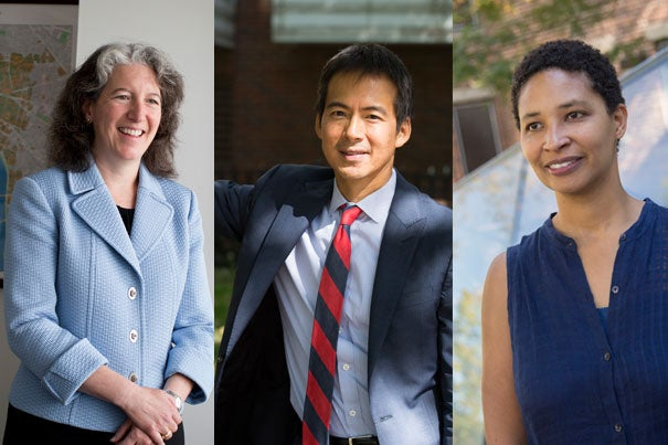 Meredith Weenick (from left), Archon Fung, and Danielle Allen are the co-chairs of a University-wide task force to examine issues of inclusion and belonging on Harvard's increasingly diverse campus.