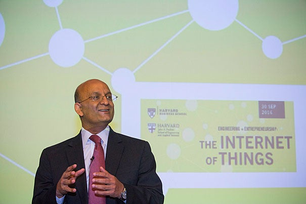 Welcoming remarks are given by HBS Dean Nitin Nohria during Engineering and entrepreneurship: The Internet of Things, in which everyday objects possess network connectivity that allows them to send and receive data, is poised to radically transform the way we live and work inside Northwest Lab. Kris Snibbe/Harvard Staff Photographer