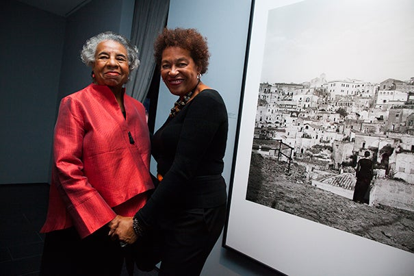 """Carrie Mae Weems (right) with former Harvard lecturer and Bunting Institute director (1989-97) Florence Ladd. Ladd attended the opening of """"Carrie Mae Weems: I once knew a girl..."""" This is the first solo-artist show at the Cooper Gallery."""