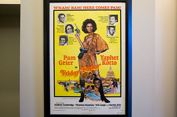 """A film poster for """"Friday Foster"""" starring Pam Grier is part of the Hutchins Center's Celia and Henry W. McGee III Black Film Poster Collection."""