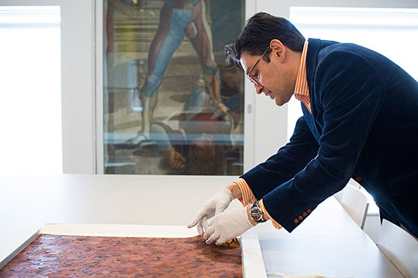 "Director of Harvard's Straus Center for Conservation and Technical Studies Narayan Khandekar examines an unused swatch from ""A Flor de Piel,"" a giant tapestry of rose petals that will soon be on view as part of the Harvard Art Museums' upcoming special exhibit ""Doris Salcedo: The Materiality of Mourning."""