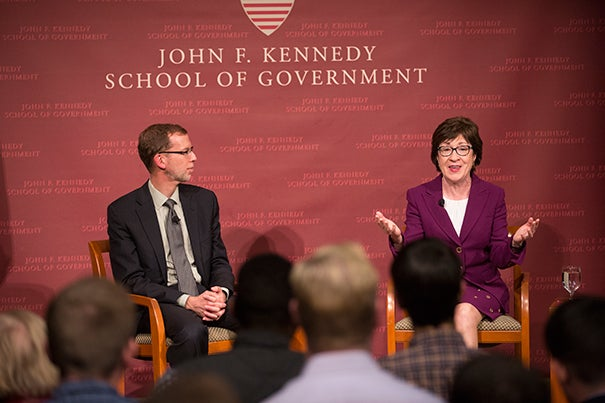 Harvard Kennedy School Dean Douglas Elmendorf moderated a conversation with Maine Sen. Susan Collins Thursday night, following a full day of lab tours and later meeting with students from Maine.