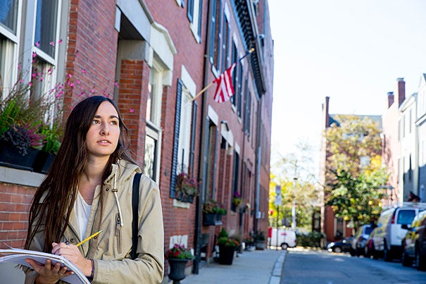 "Avila Reynolds '20 tours Charlestown to research income inequality in the neighborhood. ""The neighborhoods are so different and they're so close to each other,"" she said. ""They're reflective of the income differences."""
