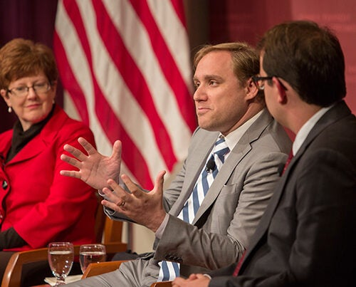 "Dmitri Alperovitch (center), chief technology officer at CrowdStrike, speaks about uncovering the DNC hack during ""Could the Election be Hacked? Evaluating Threats, Motives and Effects."""