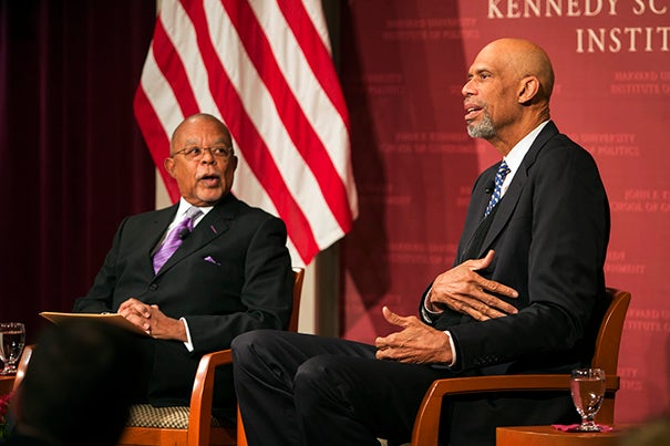 """Talking with Henry Louis Gates Jr. (left), Kareem Abdul-Jabbar shared his thoughts on America, both the positive and negative. In offering advice to students in the audience, he said, """"Get to know other students who don't look like you."""""""