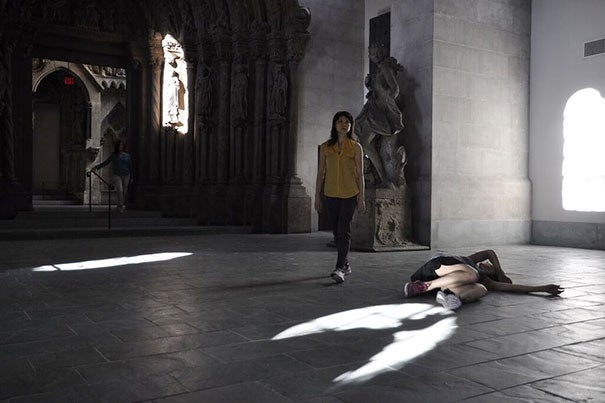 Audience members and dancers intertwine in performance at Adolphus Busch Hall. Photo: Zachary Reiser.